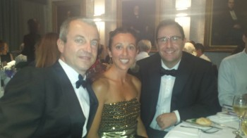 Nicola (seated left) accompanied by his wife Chiara and James Busfield at the gala dinner.