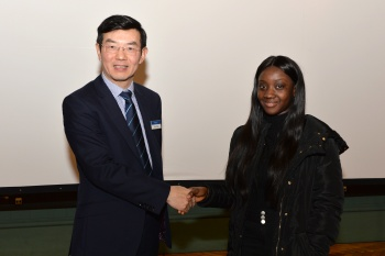 Prof Wen Wang (Head of School) congratulates Philomena on her project poster competition win.
