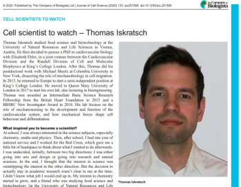 Thomas Iskratsch in the Journal of Cell Science as a