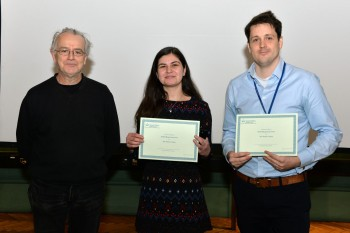 Thomas (right) and Corina (middle) being congratulated by Dr Adrian Briggs.