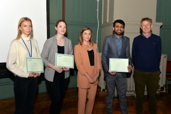 From left to right Valeriia Kudriavtceva, Megan McFie, Julia Strudwick from Polymax, Hudair Samad  and Prof Martin Knight
